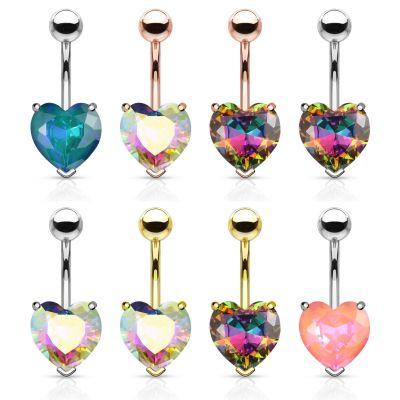 Umbigo piercing com pedras de coração de vários nuances
